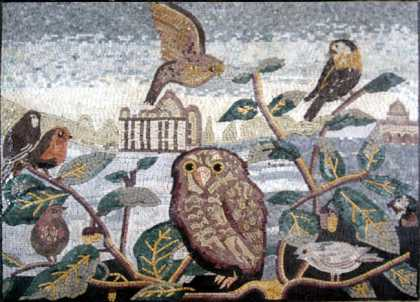 AN196 Birds and owl on leaf branches Mosaic