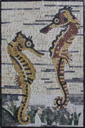 AN199 Beautiful Double Sea Horses Underwater  Mosaic