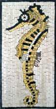 AN200 Gold & black sea horse Mosaic
