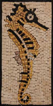 AN201 Gold & black sea horse Mosaic