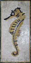 AN225 Gold & black sea horse Mosaic