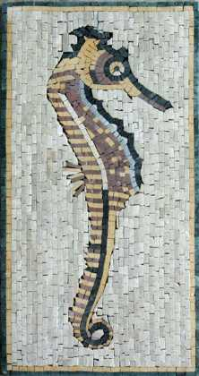 AN226 Gold & black sea horse Mosaic