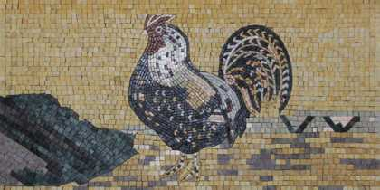 AN228 Majestic rooster golden Mosaic