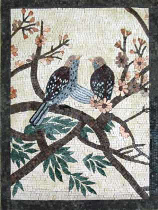 AN230 Two birds on colorful flower branches Mosaic