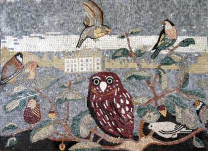 AN235 Birds and owl on leaf branches Mosaic
