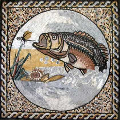 Medallion in Square Wave Border Fish Hunting Mosaic
