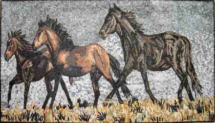 AN251 Three horses  Mosaic