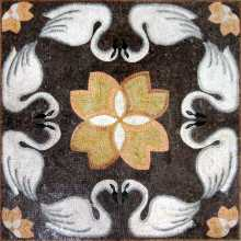 AN257 White swans & flowers art Mosaic