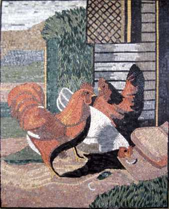 AN258 Roosters country landscape Mosaic