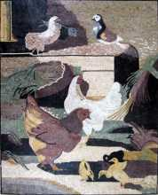 Chicken Coop Hen House Mosaic