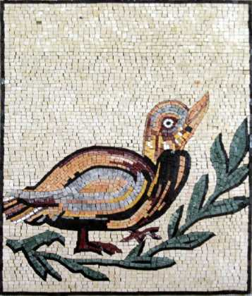 AN269 Colorful bird on branch Mosaic