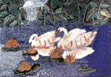 AN272 Beautiful white swans scene Mosaic
