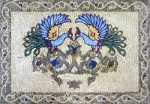 AN278 Colorful peacocks on grey frame Mosaic