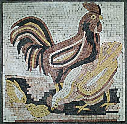Brown Gold & Black Rooster Mosaic