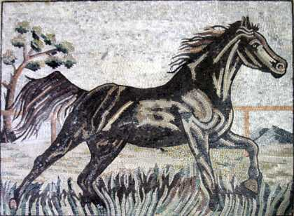 AN282 Black horse in motion Mosaic