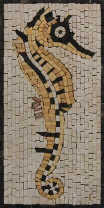 AN283 Gold & black sea horse Mosaic