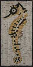 AN284 Gold & black sea horse Mosaic