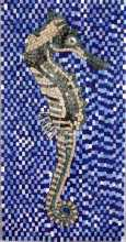 AN285 Sea horse on blue blackground Mosaic