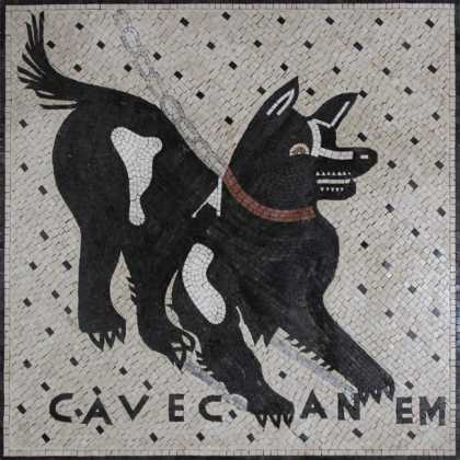 AN289 Black dog with lace Mosaic