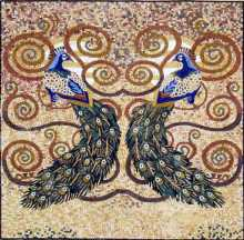 AN291 Colorful peacock symmetry mosaic