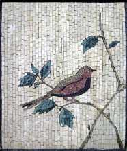 Bird on Leaf Branch  Mosaic