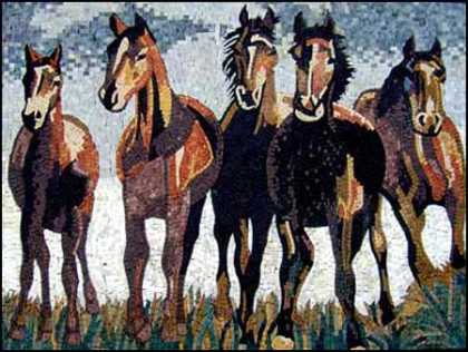 AN311 Beautiful horse group Mosaic