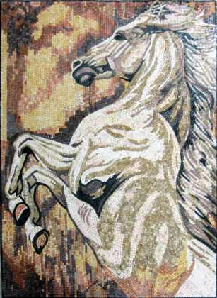 AN316 Majestic white jumping horse Mosaic