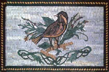 AN318 Bird on green leaves  Mosaic