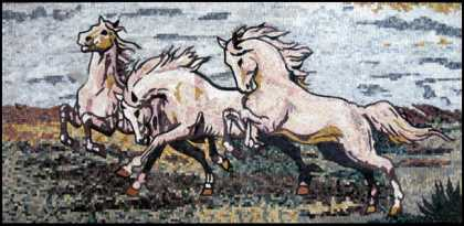 AN321 Beautiful white horse trio mosaic