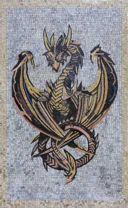 AN331 Gold & black dragon on grey background Mosaic