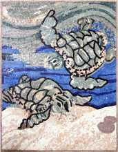 AN337 Swimming sea turtles Mosaic