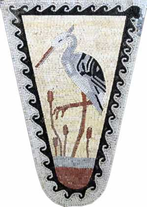 AN35 Triangular stork mosaic with wave border