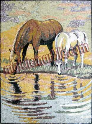 AN352 Horses drinking water Mosaic