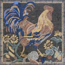 AN399 Majestic rooster with sunflowers Mosaic