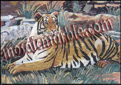AN404 Tiger sitting in nature Mosaic