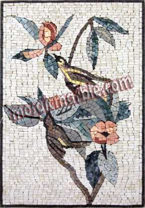 Beautiful Pastel Birds & Flower Branches Mosaic