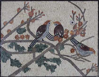 AN429 Birds on colorful flower branches Mosaic