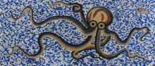 Blue Checkered Background Octopus Coral Mosaic