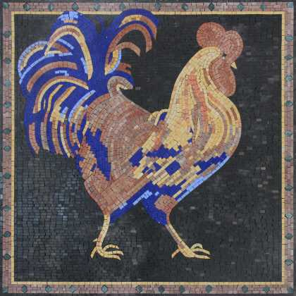 Blue Tail Feather Rooster Backsplash Mosaic