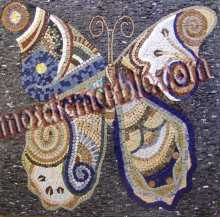 AN524 Big colorful stone tile butterfly