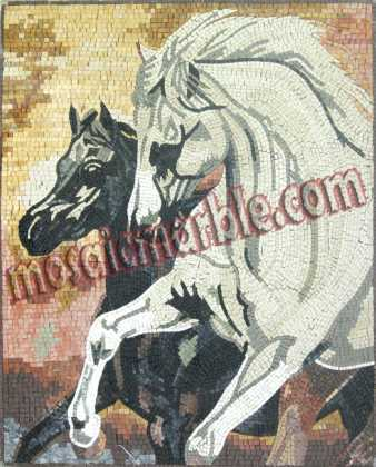 AN530 Black horse & white horse Mosaic