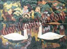 White Swans with Beautiful Colors Wall Mosaic