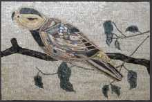 AN54 Artistic bird on leaf branch Mosaic