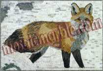 AN547 Fox with snow background mosaic marble