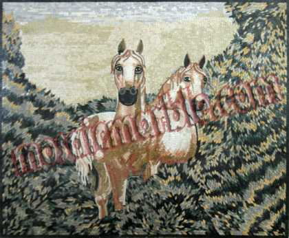 AN562 White horses in bush Mosaic