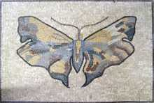 Cream yellow & grey butterfly Mosaic