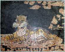 Tiger Sitting in Nature Mosaic