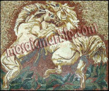 AN620 Two white fighting horses Mosaic