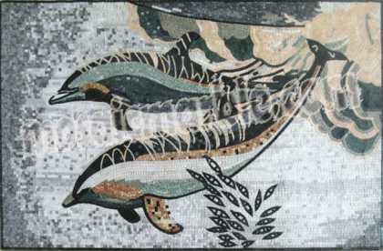AN621 Underwater grey & pink dolphins Mosaic