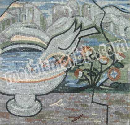 AN637 Bird drinking from water fountain Mosaic